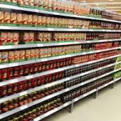 supermarket shelf shop cans tins
